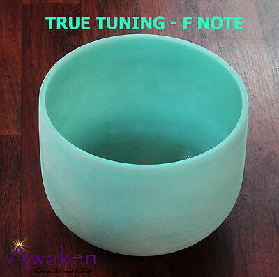 """Quartz CRYSTAL SINGING BOWL 12"""" (30cm) Frosted, GREEN 'F' Note TRUE TUNING"""