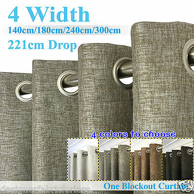TOP QUALITY THICK Eyelet BLOCKOUT Curtain LINEN TEXTURE 140-300cm (W)/221cm (D)