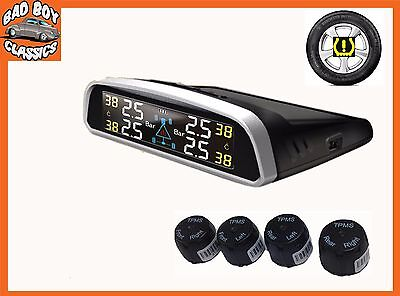 TPMS Wireless SOLAR Powered Car Tyre Pressure Monitor System Track Road Race