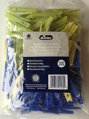 100 Pack Minky Plastic Spring Clothes Pegs