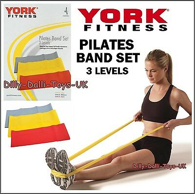 YORK Fitness Y PILATES BAND SET 3x Levels Stretch Bands Rings New Sport Gift