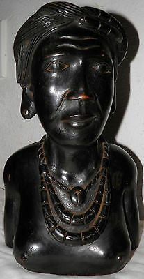 OLD VTG Hand Carved Wood Tribal bust of Woman EXTREME DETAIL LooK $50 off OBO