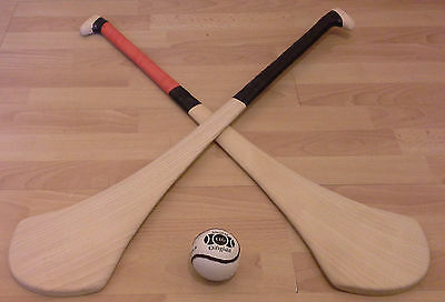 Ash Hurley Stick Set - 2 Hurleys, 2 Grips & 1 Sliotar Set - GAA Hurling Camogie