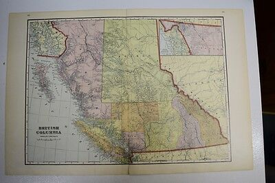 1911 Large Antique Color Map of British Columbia-pub. by George Cram-great color