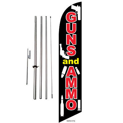 Guns and Ammo Sale Feather Banner Swooper Flag Kit with pole+spike
