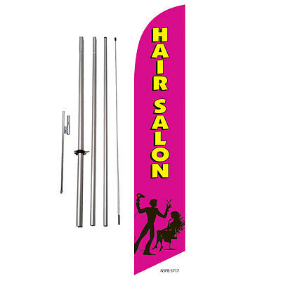 Hair Salon (hot pink) Feather Banner Swooper Flag Kit with pole+spike