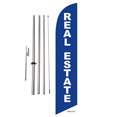 Real Estate (blue) Feather Banner Swooper Flag Kit with pole+spike