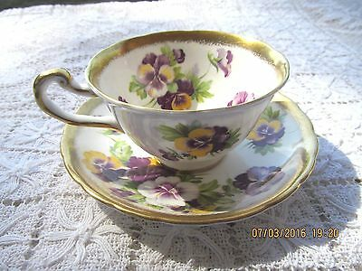 Royal Chelsea English Bone China Cup & Saucer Pansies Gold Encrusted 4219A