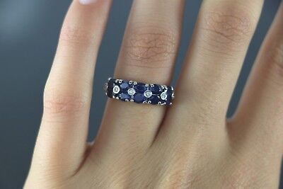 9f912762157f6 $2,800 EFFY 14K White Gold Oval Blue Sapphire Diamond Cocktail Ring Band 5.5