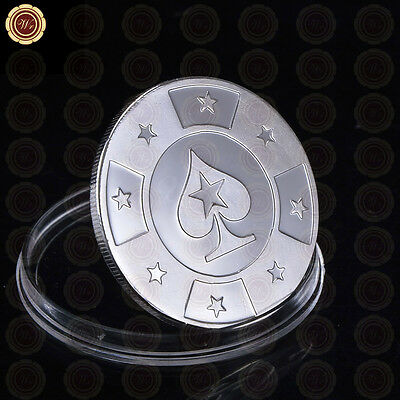 Silver Metal Token Coin Poker Stars Cards Guard Protector Chip /w Plastic Cover