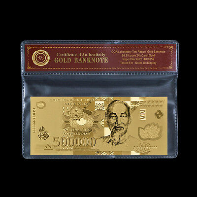 Vietnam 500,000 Dong Uncirculated Banknote 24k Gold Plated New 500000 Vietnamese