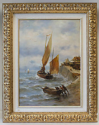 """Author: Chasseur, """"Barche in tempesta"""", dipinto su tela, oil painting on canvas"""