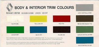 Renault Colour & Trim 1974-75 UK Market Leaflet Brochure 4 5 6 12 15 17 16