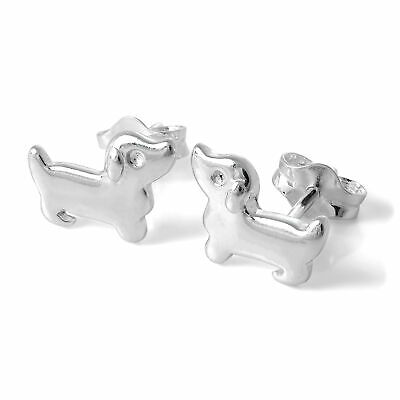 925 Sterling Silver Dachshund Dog Stud Earrings Sausage Dogs Studs Pets