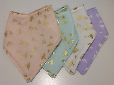 Baby girls bandana bib in Brambleberry flight collections by Tractors & Fairies