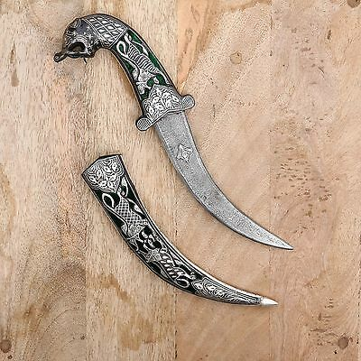 Large Antique Damascus Dagger Hunting Tiger Face Sword Silver Handwork Knife Old