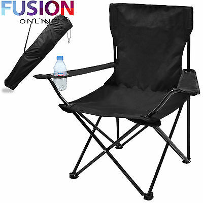 Folding Camping Chair Festival Hiking Fishing Garden Indoor Outdoor Seat Black
