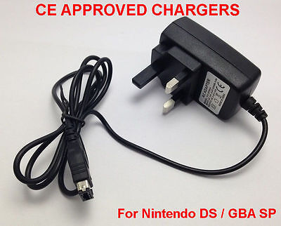 CE Approved UK Mains Wall Adapter 3 Pin For Nintendo DS & Gameboy Advance GBA SP