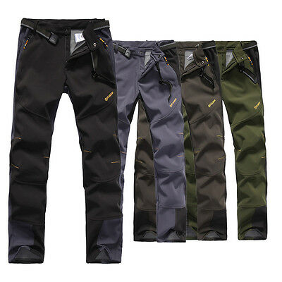 Mens Soft Shell Outdoor Pants Waterproof Windproof Ski Snow Softshell Trousers