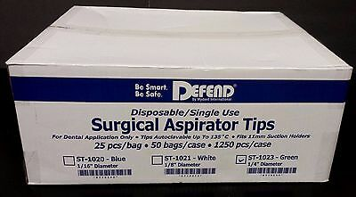 """50x DEFEND SURGICAL ASPIRATOR SUCTION TIPS GREEN 1250PCS/CASE 1/4""""DENTAL ST-1023"""