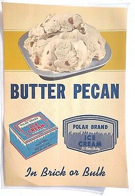 Vtg BUTTER PECAN Polar Brand Ice Cream Advertising Sign / Poster / Lithograph