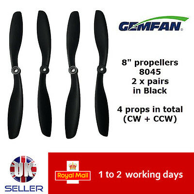 "GEMFAN 2x pairs 8"" Carbon Nylon 8045 Propellers Multi Copter Quad UK Props"