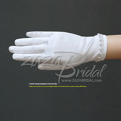 Girl's Satin Gloves with Faux Pearl Beads Accent Trim Around the Wrist