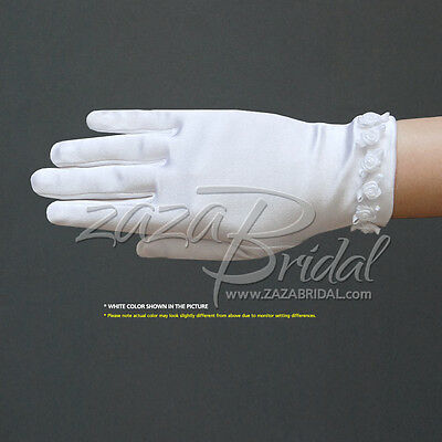 Girl's Satin Gloves with small Rosebuds Accent Trim
