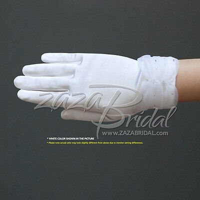 Girl's Satin Gloves with sparkling bugle beads on the Gathered Chiffon Trim