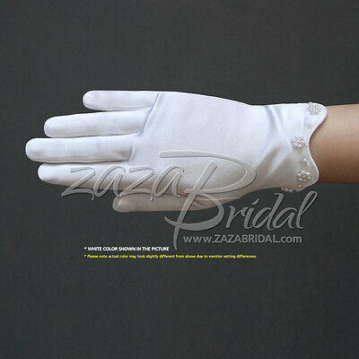 Stretch Satin Gloves For Girl with Scalloped trim & Pearl Accents