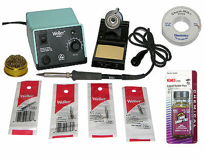 Weller WES51 Analog Soldering Station + Chisel Tips + Solder Wick + Liquid Flux