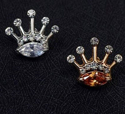 Men's Suit brooch chest buckle Crystal wedding Crown Lapel Pin Silver and Gold