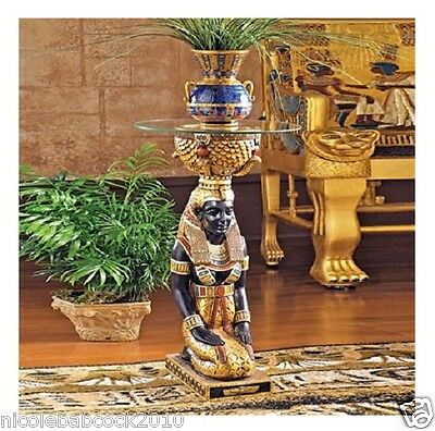 ancient Egyptian Goddess Isis Kneeling  sculptural accent table w/ glass Eset