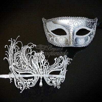His & Hers Couple Masquerade Mask, Silver for Men, White Swan for Women - Pearls