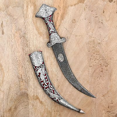 Big Vintage Dagger Knife Silver Wire Hand Work Rajput Sword Antique Damascened