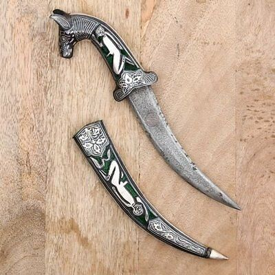 Horse Face Damascus Sword Antique Knife Khanjar Silver Wire Work Dagger Vintage