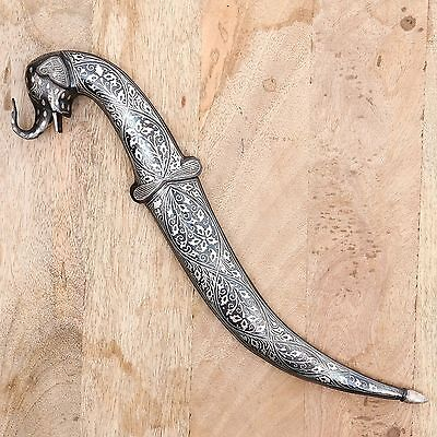 Elephant Face Dagger Knife Silver Wire Handwork Sword Damascus Antique sheath