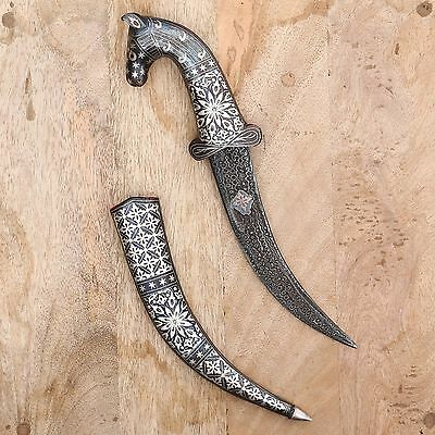 Vintage Horse Face Knife Damascus Dagger Silver Wire Hand Work Sword Khanjar Big