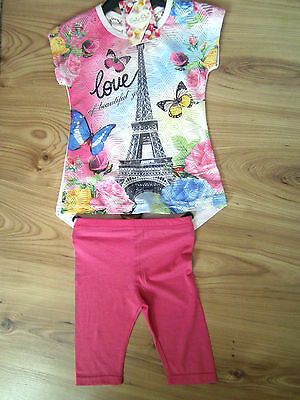 GIRLS Eiffel Tower TROUSER/LEGGING SET/OUTFIT LOVE OF BEAUTIFUL GIRL 1-9 YEARS