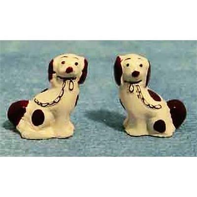 Pair of Miniature Staffordshire Dogs China Ornaments 1:12 Scale for Dolls House