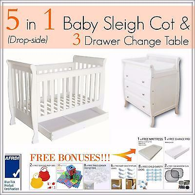 3 DRAWER WHITE Change Table and 5 in 1 Dropside Baby Sleigh Cot Package