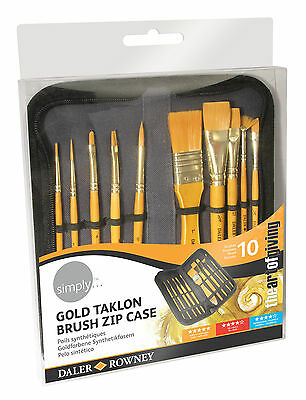 Daler Rowney Gold Taklon Bristle Brush Zip Case - 10 x Art Acrylic Paint Brushes