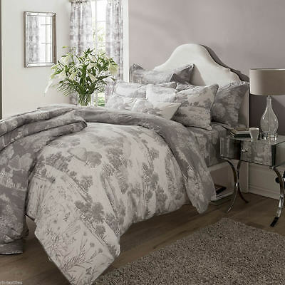 Kew Gardens Toile 100% Cotton Percale Duvet Set & Accessories Grey