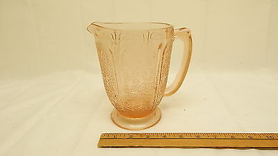 Pink Depression Footed Cherry Blossom 36oz Pitcher NICE OLD GLASS PITCHER