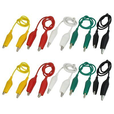 10Pcs 5-Colors Double Ended Alligator Clips Test Lead Jumper Wire 50cm LW