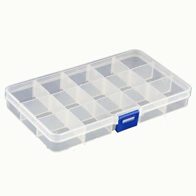 Storage Case Box Holder Organizer Container Nail Art Tips 15 Grids LW