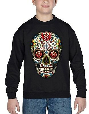 Sugar Skull Red Roses Youth Crewneck Day of the Dead Mexican Goth Sweater