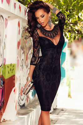 Black Lace Embroidered Necklace High Waist Evening Dress 8 10 12 14