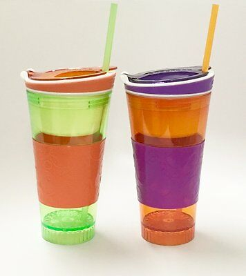 Snackeez Plastic 2 in 1 Snack & Drink Cup 2 Pack Green and Orange