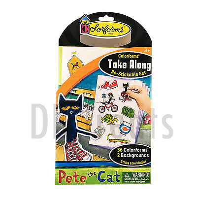 Colorforms Brand Pete the Cat Take Along Restickable Sticker Set NEW!